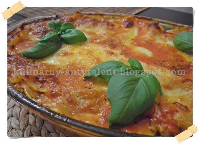 Lasagne zmozzarellą isuszonymi pomidorami