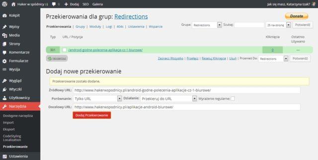 Konfiguracja wtyczki Redirection - przekierowanie 301