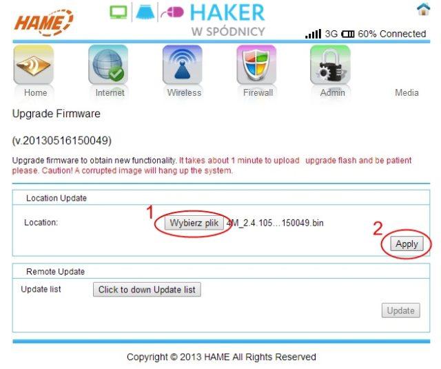 3G WiFi Router - Aktualizacja