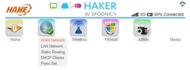 3G WiFi Router - Menu ustawień sieciowych