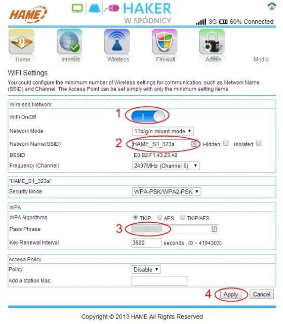 3G WiFi Router - Ustawienia WiFi