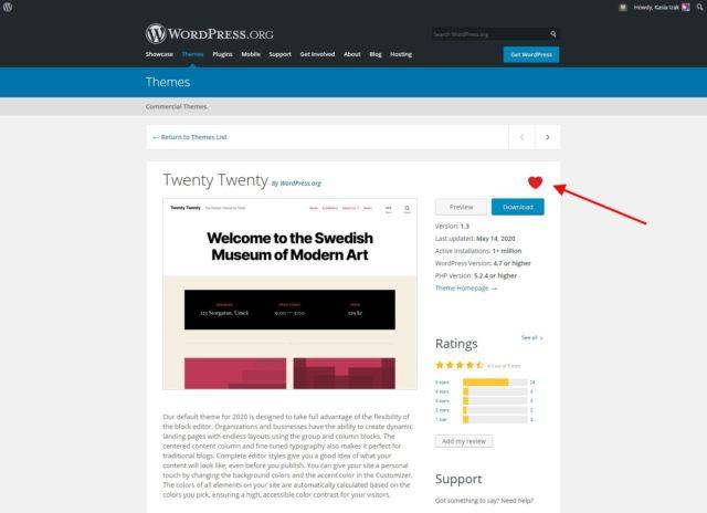 WordPress.org - Dodawanie doulubionych