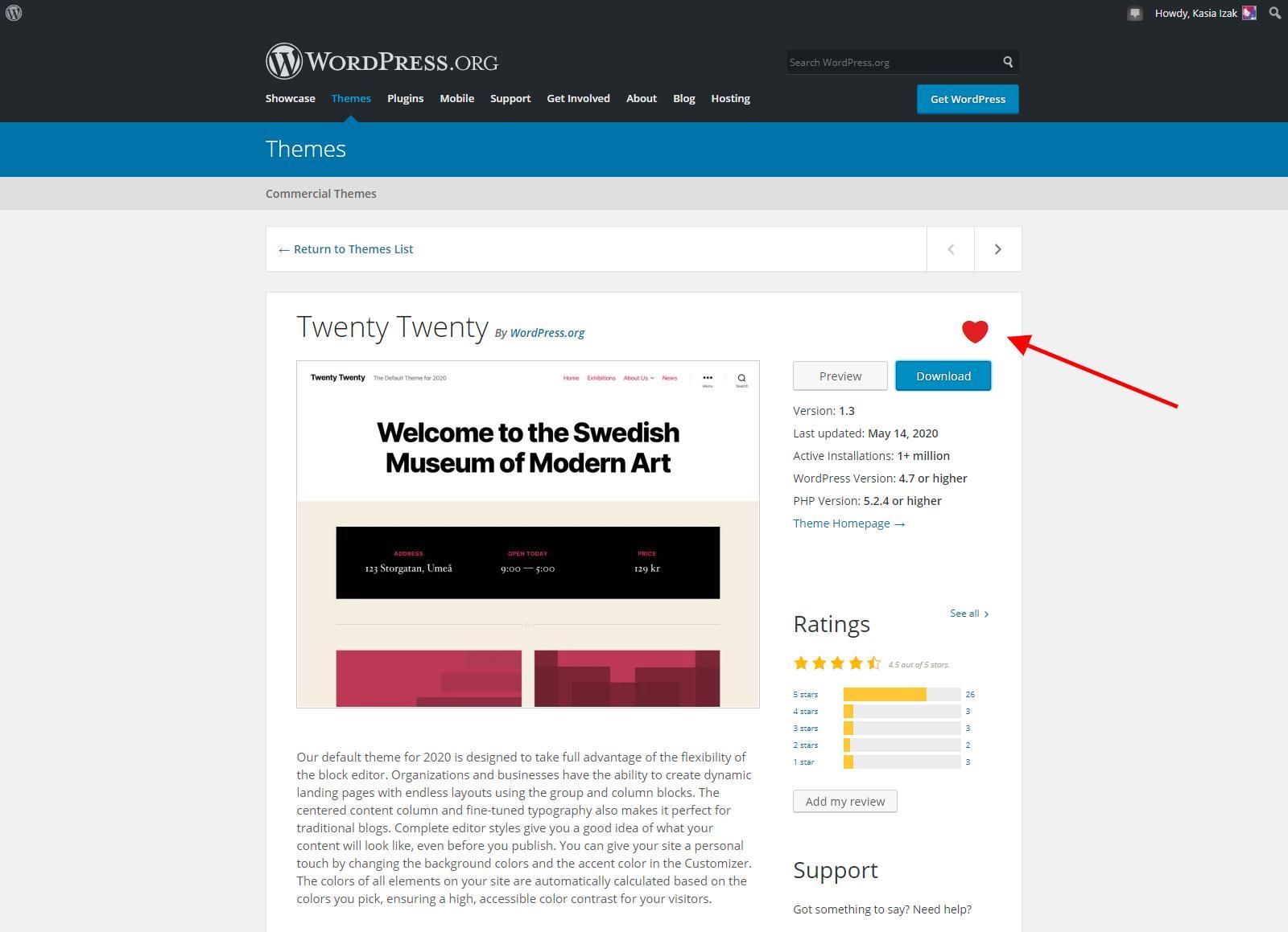 WordPress.org - Dodawanie do ulubionych