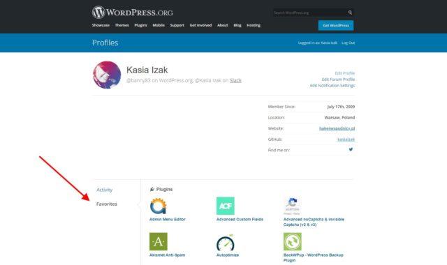 WordPress.org - Profil użytkownika, ulubione