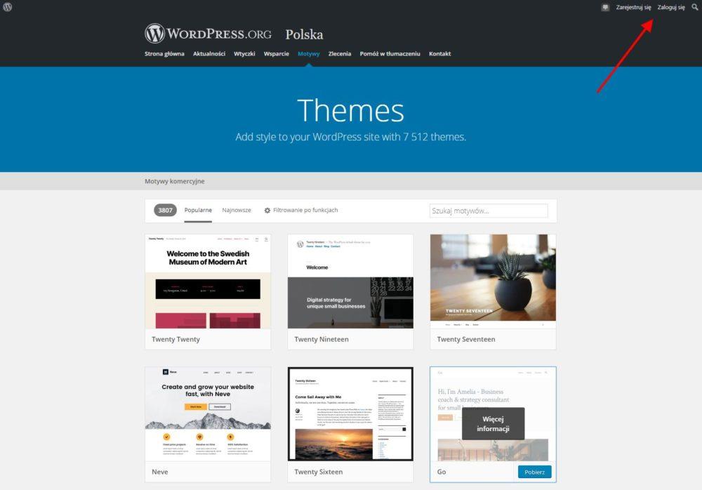 Repozytorium WordPress.org - Zakładka Motywy