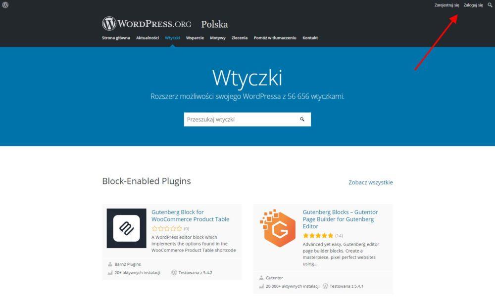 Repozytorium WordPress.org - Zakładka Wtyczki